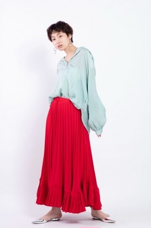 il - 2way pleats skirt -RED