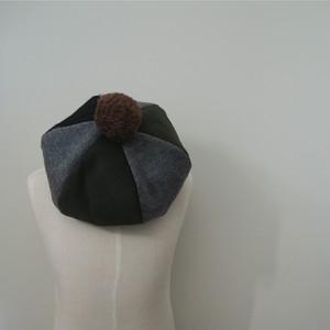 リバーシブル ベレー帽 ☆ カーキ グレー × ブルー チェック