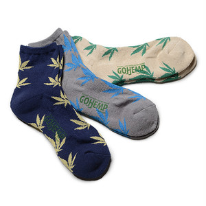 GOHEMP  PATTERN PILE QUARTER SOCKS/×ANONYMOUSISM