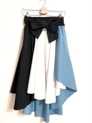 配色切り替えのフィッシュテールスカート ブルー