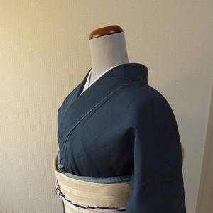 正絹 紺の絽の夏着物