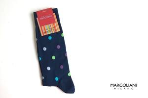 マリコリアーニ|marcoliani|クルー丈ピマコットンドット柄ソックス|Multicolor dots 034 Blue
