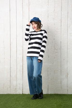 白× 黒 ボーダー ロングスリーブ Tシャツ 長袖 | 5.0oz ボールドボーダー 太めピッチ ワイドピッチ 綿100%