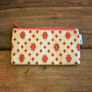 Ashi|亜紙 Flat Pouch M*Cambodia Traditional Design (Pink) 紙ポーチ 伝統 カンボジア