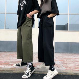【ボトムス】ハイウエストファッション無地ガウチョパンツ18459346