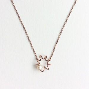 アンティークなピアノ弦の一粒パールプチネックレス Piano spring necklace with pearl