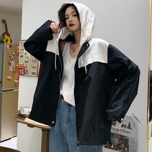 【アウター】原宿風レトロ切り替えファスナーフード付きジャケット25690031