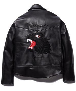 """Rakugaki """"BLACK PANTHER"""" Embroidery Leather Riders Jacket ~AZI 15th Anniversary~"""