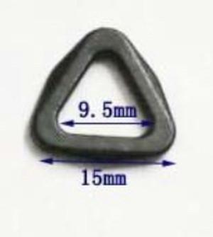 プラスチック 三角カン 三角リング テープ幅 9.5mm まで 黒 3個入り