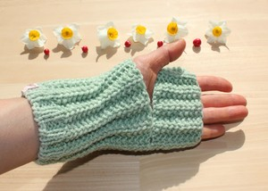 草木染(ヨモギ&桑の葉) ウール100% 手編み レッグウォーマー アームウォーマー 冷え取り