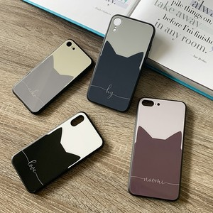 【名入れなし】バイカラーキャットスマホケース♪ねこ好きな方に♪iPhone各種対応