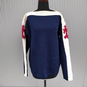 swedish knitting/ビンテージ/ヴィンテージ/古着/ウール/スラッシュドネック/スキーニット/セーター/M/ネイビー/O1211MBO/