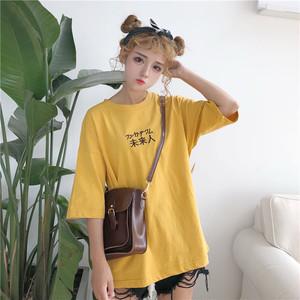 【トップス】夏韓国風ルーズシンプル半袖ラウンドネックTシャツ