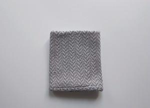 ヘリンボーン織り コットンハンカチ  グレー