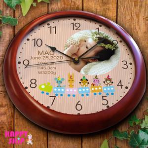ハッピースキップ 木製枠壁掛け時計 出産祝い 出産内祝い オーダーメイド 時計