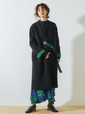 UN3D. BI-COLOR KNIT COAT