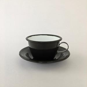 黒いホーローのカップ&ソーサー|Black Enamel Cup with Saucer