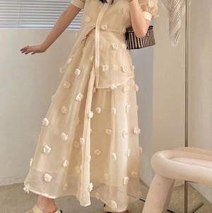 【送料無料】  fluffy flower skirt 全2色・U2134