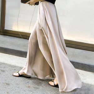 Satin chiffon wide skirt pants サテン シフォン ワイド スカーチョ