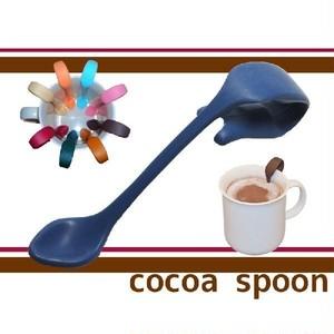 お友達へのプレゼントや誕生日ギフト/コーヒーカフェラテに便利な贈り物クリップ式ココアスプーン(ダークブルー)