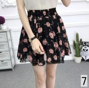 ブラック 花柄プリント (写真7) スカート レディースファッション シフォン シック 学生 女性 夏 大きいサイズ 体型カバー 可愛い おしゃれ ひざ丈 zhga061