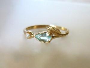 パライバトルマリンとダイヤのK14の指輪