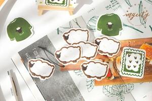 シール 和紙素材 大判 動物と果物