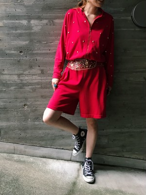 80s red × gold studs dolman sleeve jumpsuits ( ヴィンテージ レッド × ゴールド スタッズ ジャンプスーツ )