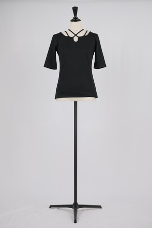 【MURRAL】ivy rib half sleeve top - black