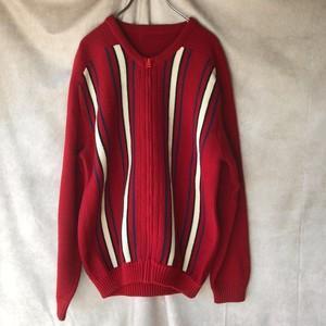 70-80s retro knit zip cardigan