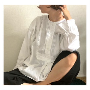 Vintage white Hungarian traditional folk blouse with ruffled sleeves