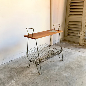 Mosaic Tile Side Table with Magazine Rack 70's オランダ