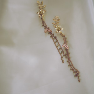 【2way】vintage Dot chain mini flower (brown gold)