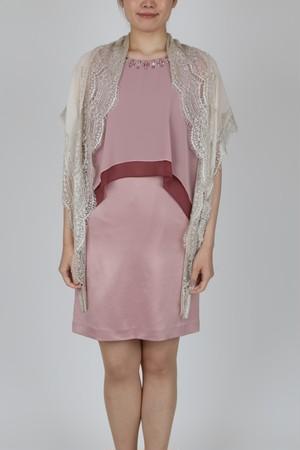 【USED】大人ピンクカラーのシフォン&サテンドレス、ストールセット