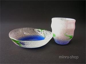 琉球ガラス グラス&お皿セットー2 泡桜 紫白泡/青緑 910050 稲嶺盛吉|みんるー商店
