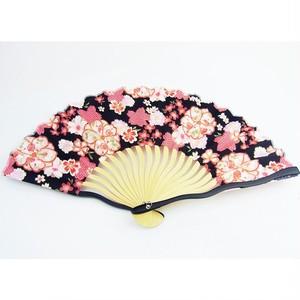 レディース波骨布扇子 桜づくし 黒 (扇子袋付き) 52-401b33-1804