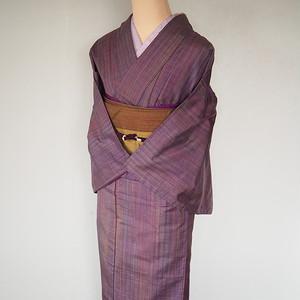 淡い紫 縞模様 紬袷着物