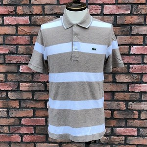 Used Lacoste Striped Polo Shirt Beige/White 3