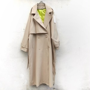 keisukeyoneda drop over trench coat +Embroidery belt  beige