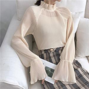 【トップス】秋冬合わせやすい清新ギャザー飾りスタンドネックメッシュインナーシャツ