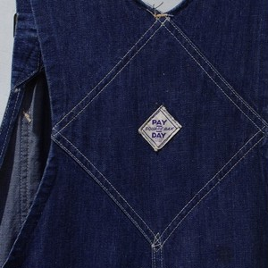 "1940s ""PAY DAY"" SQUARE BAK Denim Overall 大戦"