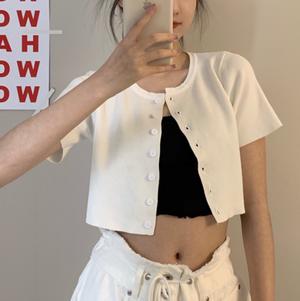 Front button short lengh knit T-shirts LD0677
