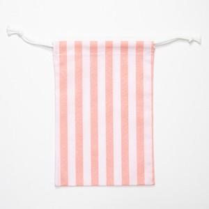 【annas Original】刺繍用きんちゃく コーラルピンク/ストライプ