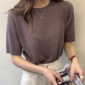 【トップス】人気爆発中五分袖ラウンドネック夏無地カジュアルTシャツ46189094