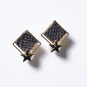 STAR ON PEARL LETHER SQUARE EARRINGS(SILVER)