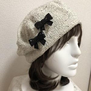 お生地たっぷりベレー帽 ツィードホワイト系 おリボン黒