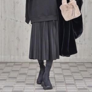 エコスウェードプリーツスカート/BK
