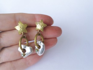 スター&シルバーナゲットピアス vintage earrings star SV <PE6  -L19>