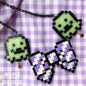 【Apps and Beads】おばけちゃんのりぼんネックレス