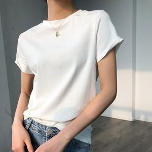 2色/ラウンドネックコットンTシャツ ・1565